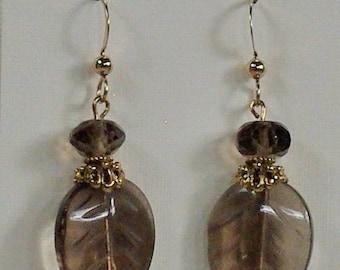 Smokey Quartz Gemstone Leaf Earrings, Brown Gemstone Leaf Earrings, Fall Gold Leaf Earrings, Quartz Gemstone Earrings Under 25