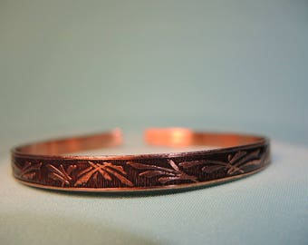 handmade, delicate etched copper metal cuff bracelet