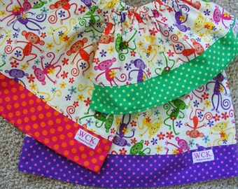 Silly  Monkeys  Skirt (18 mos, 24 mos, 2T, 3T, 4T, 5, 6, 7, 8)