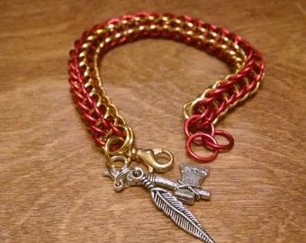Full Persian Garnet and Gold Bracelet