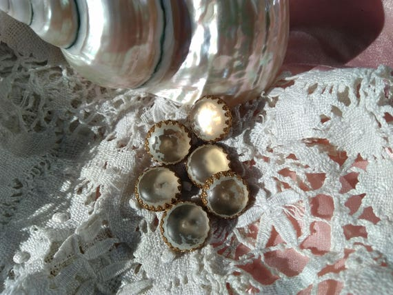 6 Victorian Glass and Brass Buttons Antique French Blouse Buttons  #sophieladydeparis