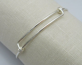 Sterling Silver Adjustable Bangle, Adjustable Bangle Bracelet, Sterling Silver Bangle Charm Bracelet, Sterling Silver Charm Bracelet