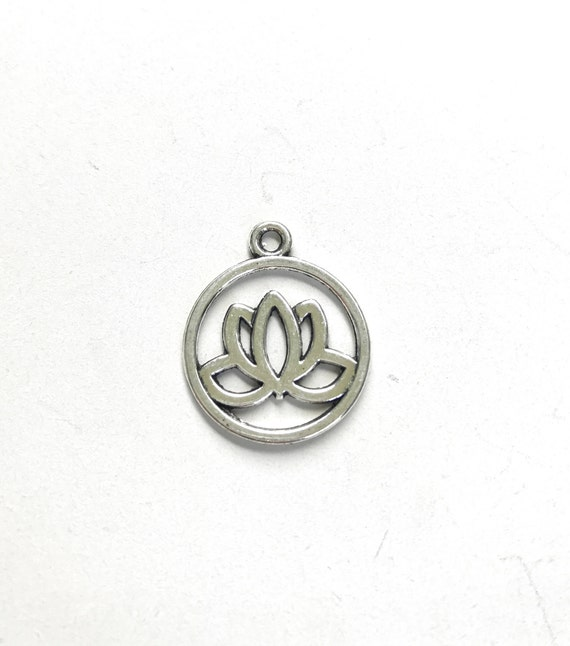Lotus Charm, Mala Bead Charm, Yoga Style Charms, Silver Lotus Charm, Customize Your Mala Necklace