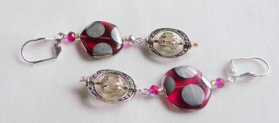 Pink dot earrings - flat glass disk - club dance earrings - metallic - geometric - oval frame earrings - Lizporiginals