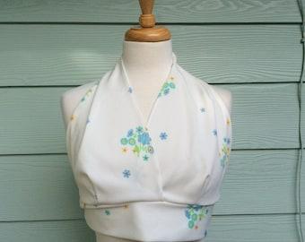 Vintage Halter Crop Top white w/ Floral