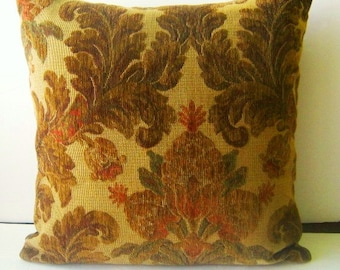 Decorative Tapestry Pillow Cover in Shades of Brown With Green and Red 20x20