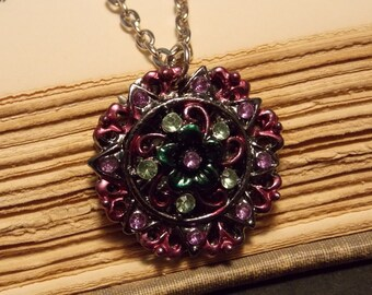 Purple and Silver Vintage Inspired Garden Pendant