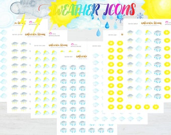 Watercolor Weather Planner Stickers - Cloudy, Sunny, Partly Sunny, Lightening, Raining, Snowing