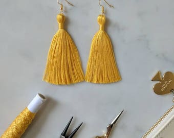 Yellow Tassel Earrings -Silk Tassel Earrings - 7cm 2.5in - Sunshine Yellow Tassle Jewelry - Boho Fringe Earrings -Silver Bronze Gold Hook
