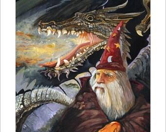 "Wizard and Dragon Print - ""Homecoming"" - 8x10 Fantasy Art Illustration Reproduction"