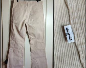 Vintage 648 Big E Levis Corduroys 33x32 White bellbottoms cords Talon 33 inch waist #1564