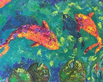 Koi fish in pond Original Acrylics painting