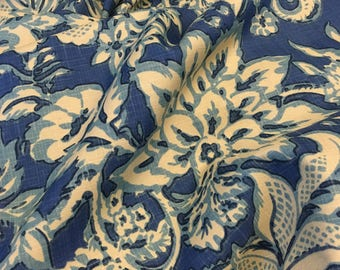 Fabric by the yard Bosco by Brunschwig & Fils 1998  two yards 54 inches wide blues tan large floral print