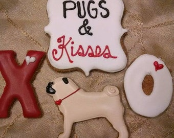 Pugs and kisses Valentine's day dog treats