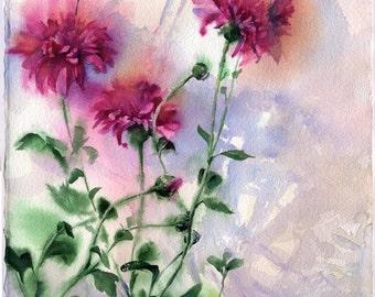 Purple flowers watercolor - original purple asters painting paper