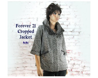 women's cropped coat - Women's jacket - one of a kind jacket - couture jacket - Forever 21  , Size medium ,# 35