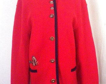 vtg Geiger ladies Red/Navy Prairie Dog Theme Pure Wool Sweater Cardigan 40