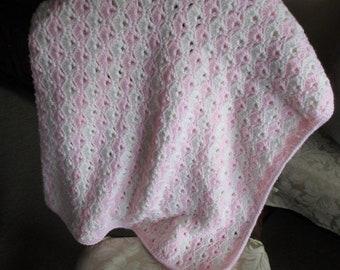 Crochet Pink & White Baby Blanket