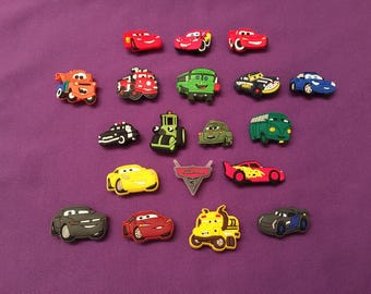 Disney Cars Shoe Charms for Crocs, Silicone bracelet, Jibbitz, or McQueen and Mater Keychains, Party Favors
