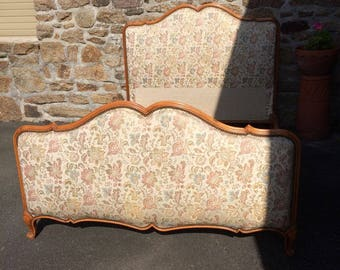 NOW SOLD!!!    Vintage French Upholstered Louis XV Style Bed Frame
