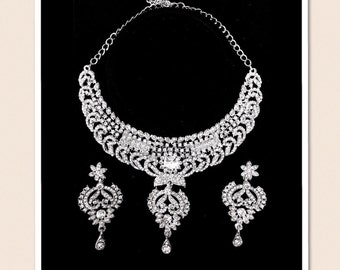 Sale Bridal Jewelry Set, Necklace and Chandelier Earrings, Rhinestone, CZ, Silver Tone, Formal