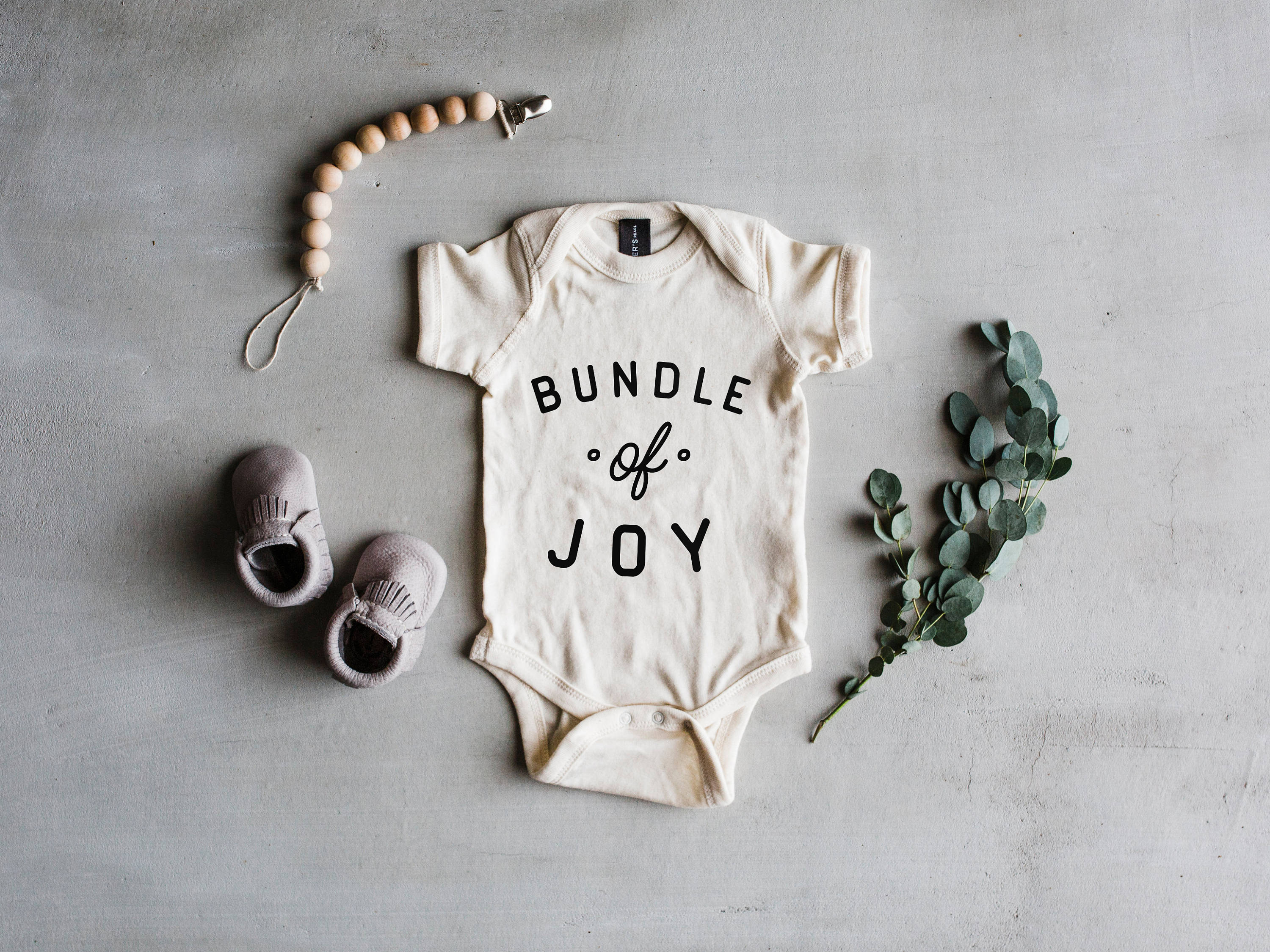 Bundle Joy Baby Bodysuit Modern Typographic Baby Clothes