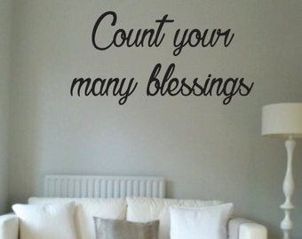 Vinyl Wall Word Decal - Count Your Many Blessings - Home Decor - Wall Words