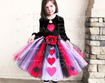 Queen of Hearts - A Tiara's Boutique Original Design - Custom Sewn Tutu - Up to 20'' long - Girls sizes 9 to 12