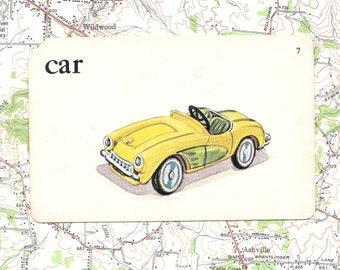 CAR/yellow/sports car/ Vintage Vocabulary Flashcard