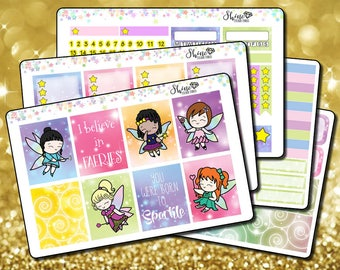Faerie Time - Vertical Planner Stickers Erin Condren Life Planner  ECLP Fairy Time Stickers Fairy Girl Stickers Faerie Girl Sticker Kit