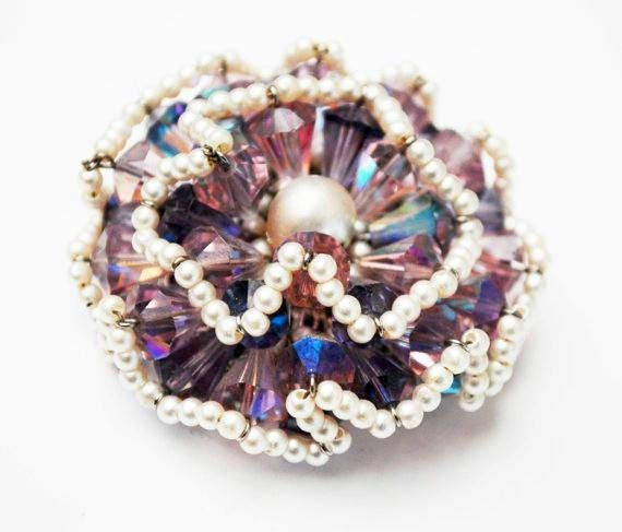 Vendome Brooch - Purple Crystal Rhinestone -  faux pearl seed  Bead - signed - Floral Atomic  - Aurora borealis - Cluster bead pin