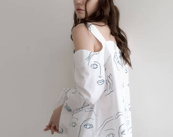 Face hand silkscreen printing cotton white shirt blouse, woman's girl's handmade screen print shirts, printed long sleeves blouses