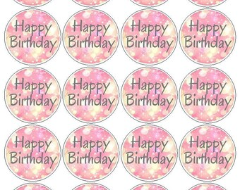 Pink Bokah Happy Birthday Printable Cupcake Toppers-Pink Cupcake Toppers-Cupcake Toppers-Pink Toppers-Printable Cupcake Toppers-Bokeh Print