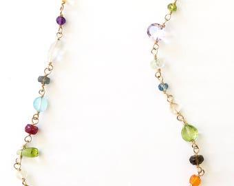 Gemstone Necklace, Gold Gemstone Necklace, Gemstone Jewelry, Long Gemstone Necklace, Long Gold Necklace, Multi Gemstone Necklace, Gemstones