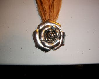 Tibetan Silver Rose Flower Pendant on Sari Silk Ribbon,  Chain & Beaded Necklace