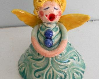 Hand Sculpted Aqua Ceramic Singing Angel