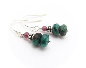 Turquoise Earrings, Faceted Turquoise Gemstone, Sterling Silver Earrings, Garnet Earrings, December Birthstone, Petite Dangle Jewelry