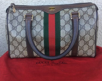 Authentic Vintage Gucci Boston/Doctor Web Bag With Original Dust Bag Brown Canvas Small