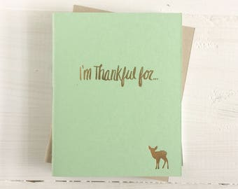 i'm thankful for pressed pocket journal with deer | set of 3