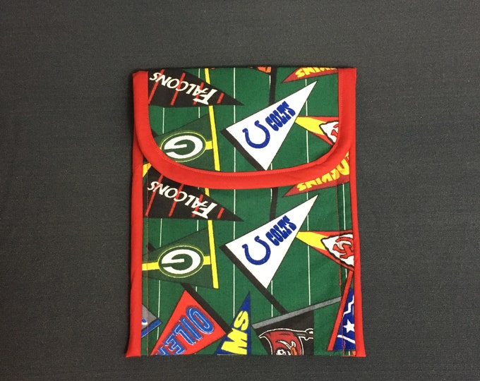 Featured listing image: Football Theme Reusable Snack Bag, Zero Waste, Gift For Boys, Gift For Men, Lunch Bag, Back to School, Football Flags, 5.5x7, Kids Snack Bag