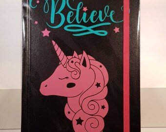 Believe - unicorn - notes and doodle notebook