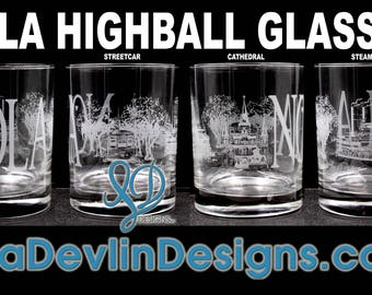 Tour of New Orleans Highball Glass Set