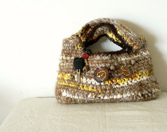 Crochet tote - earthy, brown and white with natural bead decor in aboriginal pattern