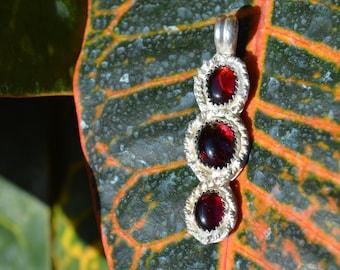 Handmade sterling silver triple garnet pendant//January birthstone