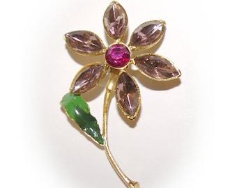 Lavender Flower Brooch, Gold Tone  Vintage 1970's