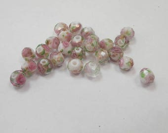 25 glass beads with flowers size 5 mm