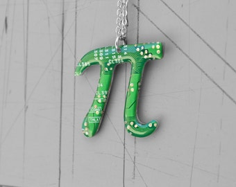 Pi Necklace, Nerdy Geeky Geometry Math Necklace, Mathematics Pythagoras Jewelry