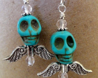 Dia de los Muertos Earrings - Turquoise Skull w/ Wings