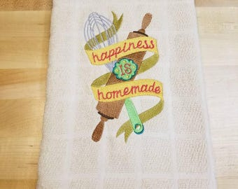 Happiness is homemade kitchen towel.