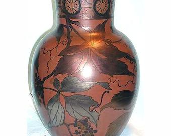 Boch Freres Keramis Chalcography Vase Art Noueau Period Vine Motif Metallic Lustre